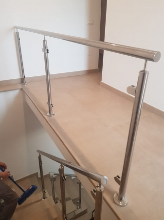 Stainless steel railing inside