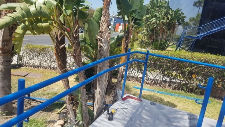 Blue painted railings